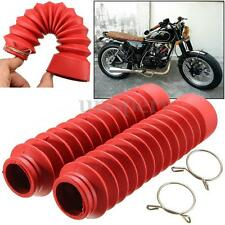 Motorcycle Red Rubber Front Fork Cover Protector Gaiters Boots For Harley Suzuki