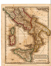 "ANTIQUE SIDNEY HALL COPPERPLATE MAP -""ITALIAE ANTIQUAE PARS MERIDIONALIS"" (1821)"