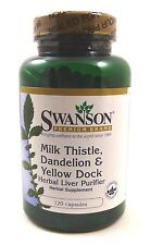 Milk Thistle Dandelion Yellow Dock 120 Capsules Liver Detox Cleanse Herbal Blend