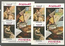FAMOUS PAINTINGS, LETTER WEEK ON FUJEIRA U.A.E. 1968 Michel Bl. C9A+C9B, MNH