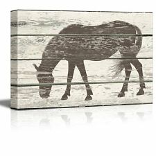 Grazing Horse Silhouette Artwork - Rustic Canvas Wall Art Home Decor - 16x24