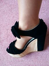 Ladies shoes. Stunning Bow Detail Faux Suede Platform Wedge Shoes. Size 4 £10