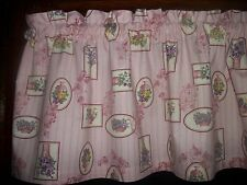 Chic Victorian Flower Pink Shabby Striped Stripe fabric topper curtain Valance