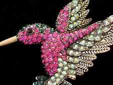 "AB HOT PINK GREEN RHINESTONE FLYING HUMMINGBIRD BIRD PIN BROOCH JEWELRY 2.75"" LG"