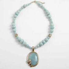 Barse Jewelry Amazonite and Bronze Butterfly Beaded Necklace