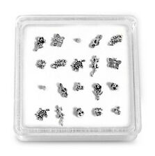 Silver Nose Stud Assorted Plain Body Piercing 20 pcs in Box Animals & Insects