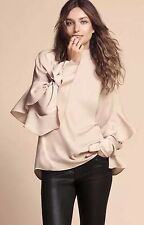H&M Trend Conscious Beige Ruffle Tier Layer Long Sleeves silky Blouse/Tunic 10