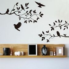 Flying Birds Tree Branches Leaves Wall Stickers PVC Vinyl Mural Home Room Decor