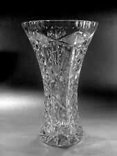 Wonderful Lead Crystal Flower Vase - Diamonds, Fans & Cross-hatching, 10-3/8""