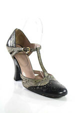 Miu Miu Black Gray Embossed Perforated Leather Mary Jane Pumps Size 36 6