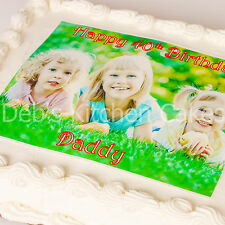 "Your Own Personalised Photo + Message Cake Topper Edible Wafer 8""x10"" Rectangle"