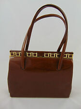 Vintage 50/60's REAL LEATHER Classic Woman's Brown Leather Handbag