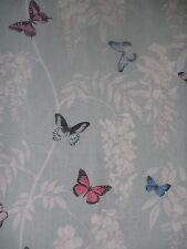 "SANDERSON CURTAIN FABRIC DESIGN ""Wisteria & Butterfly"" 0.7 METRE SEASPRAY/MULTI"