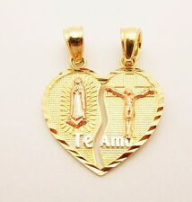 10k Yellow Pink Two Tone Gold Heart Charm Guadalupe Te Amo Pendant