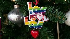"""Gay Pride """"Love Is Love"""" Personalized Christmas Tree Ornament"""