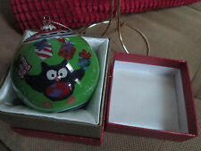 2014  Li Bien Owls Collectible Glass Christmas Ornament Pier 1 Imports