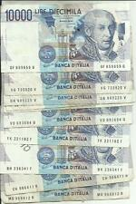 ITALIA-ITALY LOT 10x10000 LIRA 1984. F-VF. STILL REDEEMABLE. 3RW 19 NOV