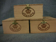3 Small Wood Cigar Boxes Lot Arts / Crafts Jewelry / Trinket Boxes Hinged