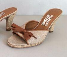 SALVATORE FERRAGAMO $450 Leather Trim Shoe Lace Bow Heels Shoes Size 7 1/2 B