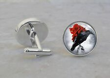 Raven With Red Rose Goth Emo Animal 925 Sterling Silver Cuff Links