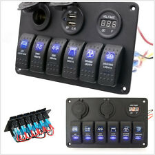 6 GANG Aluminium BLUE LED ROCKER SWITCH PANEL CIRCUIT BREAKER CAR RV BOAT MARINE