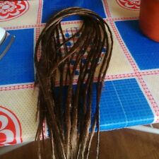 10 brown thin synthetic dreads, dreadlock extensions double ended, medium length