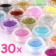 DIY 30 Mixed Glitter Colors Nail Art Glitter Powder Dust Acrylic UV Gel Tips Set