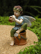 Miniature Dollhouse FAIRY GARDEN ~ Petite Fairy Boy Piper with Horn ~ NEW