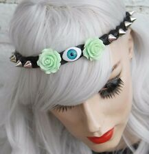 EVIL EYE SPIKE STUDDED FOREHEAD BAND HALLOWEEN GOTHIC MINT ROSE HEADBAND CROWN