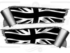 Pair 290mm Roll Tear Ripped Torn Metal Effect Black Union Jack Flag Car Sticker