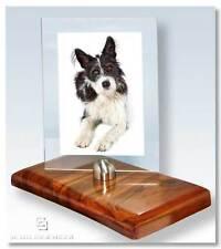 Bilderrahmen Nußbaum rahmenloser Glasrahmen Edelstahl Bildhalter Schreibtisch