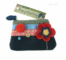 Disaster Designs Zip Purse BEAUTIFUL DAY Appliqué Blue Red Poppy Flower BNWT