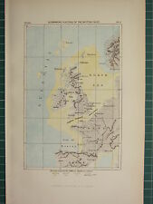 c1890 ANTIQUE MAP ~ SUBMARINE PLATEAU OF THE BRITISH ISLES STRAIT OF DOVER