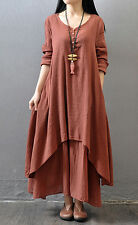 Muslim Women Long Sleeve Maxi Dress Linen Loose Red Dress Skirt Flax Tunic L
