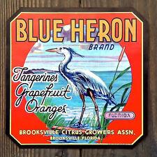 Vintage Original BLUE HERON CITRUS CRATE Box Label Tangerine Grapefruit Oranges