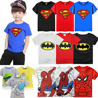 Kids Baby Boys Girls Childrens T-shirts Cotton Blend Cartoon Tops Tees Age 1-7Y
