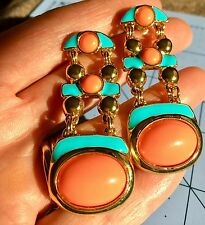 KJL Kenneth Jay Lane Statement Earrings Coral Turquoise And Gold Pierced