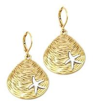 G1 Shell Starfish EARRINGS Dangly Fashion Ocean Beach Marine Sealife Gold NEW