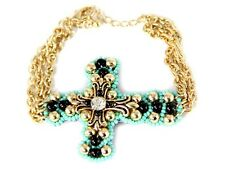Gold Bracelet with Turquoise Beads Cross Design