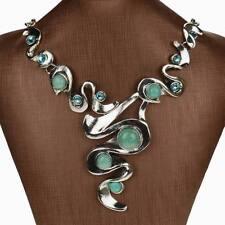 Haimi-hk Genuine Turquoise Diamante Gem Rhinestone Bib Collar Pendant Necklace