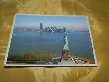 Vintage Chrome Postcard-Statue of Liberty-New York City w/ Twin Towers