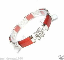 Natural Red Jade Gems Silver Metal Fortune Lucky Link Clasp Bracelet Bangle