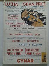 AFFICHE ANCIENNE CATCH 1972 MADRID ESPAGNE CYNAR