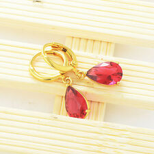 Statement womens jewelry 18K gold filled Red crystal dangle Drop earrings