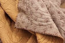 Antique French Quilt pique Provence printed fabric c1820 silk cotton vanne