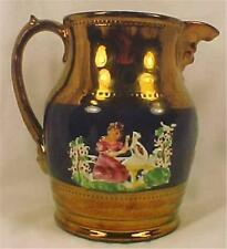 Antique Copper Luster Pitcher Girl & Dog Blue Band Colorful Small Chip Inside