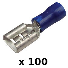 """100 Pack Blue 16-14 AWG Nylon Insulated 0.25"""" Female Spade Terminals for Boats"""