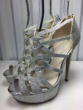 Aldo Women's Silver Platform Sparkle Prom Shoes Size 5 New!