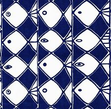 scandinavian fabric 50s 60s retro fish Marimekko era vtg DIY cushion geometric