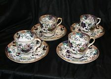 4 George F Bowers PICCIOLA Hand Decorated DEMITASSE CUPS & SAUCERS. c 1840-1868